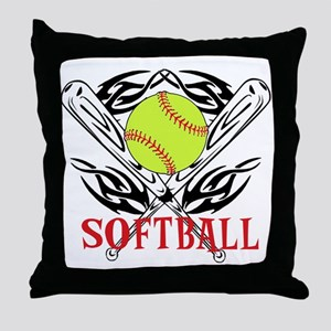 Softball Tribal Throw Pillow