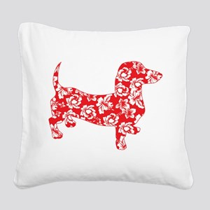 Aloha Doxies in Red Square Canvas Pillow