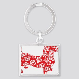 Aloha Doxies in Red Landscape Keychain