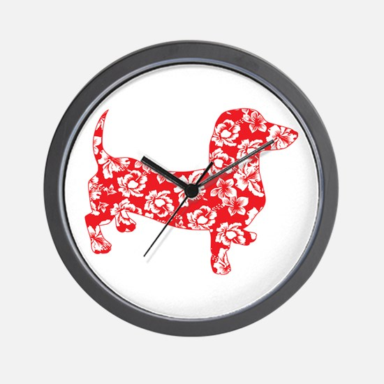 Aloha Doxies in Red Wall Clock