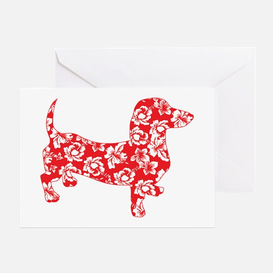 Aloha Doxies in Red Greeting Card