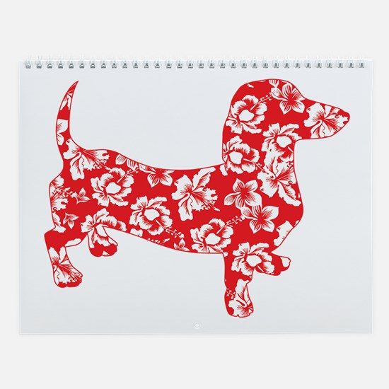 Aloha Doxies in Red Wall Calendar