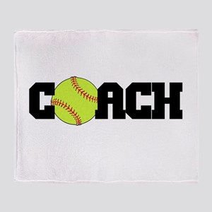 Softball Coach Throw Blanket