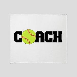 Softball Coach Throw Blanket