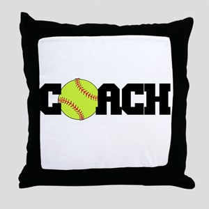 Softball Coach Throw Pillow