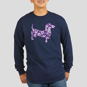 Aloha Doxies in Purple Long Sleeve Dark T-Shirt