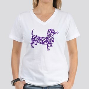 Aloha Doxies in Purple Women's V-Neck T-Shirt
