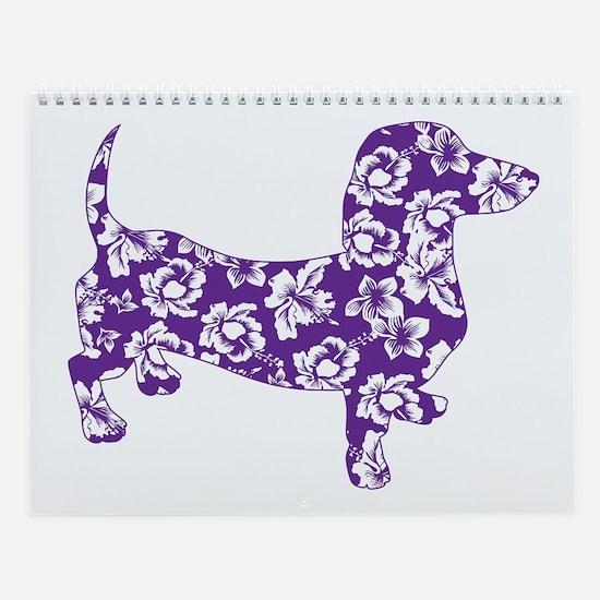 Aloha Doxies in Purple Wall Calendar