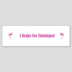 I Brake For Flamingos Bumper Sticker