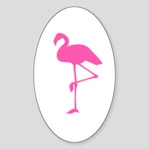Pink Flamingo Oval Sticker