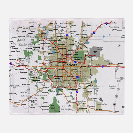 Denver Map Throw Blanket