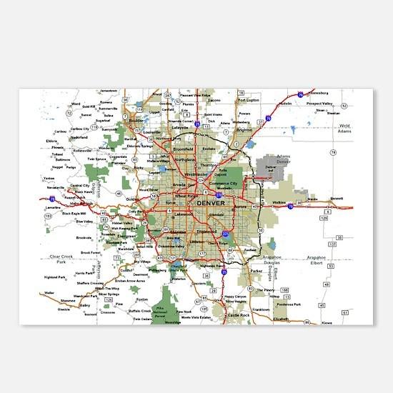 Denver Map Postcards (Package of 8)