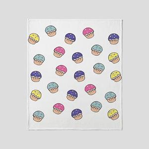 Cute Girly Pastel Cupcakes Pattern Throw Blanket