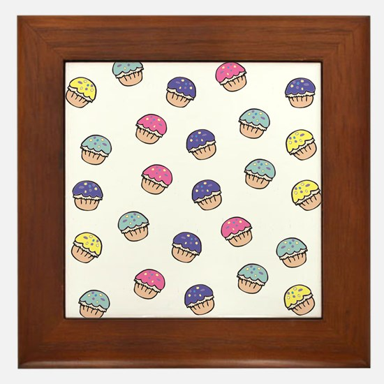 Cute Girly Pastel Cupcakes Pattern Framed Tile