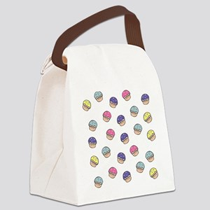 Cute Girly Pastel Cupcakes Pattern Canvas Lunch Ba
