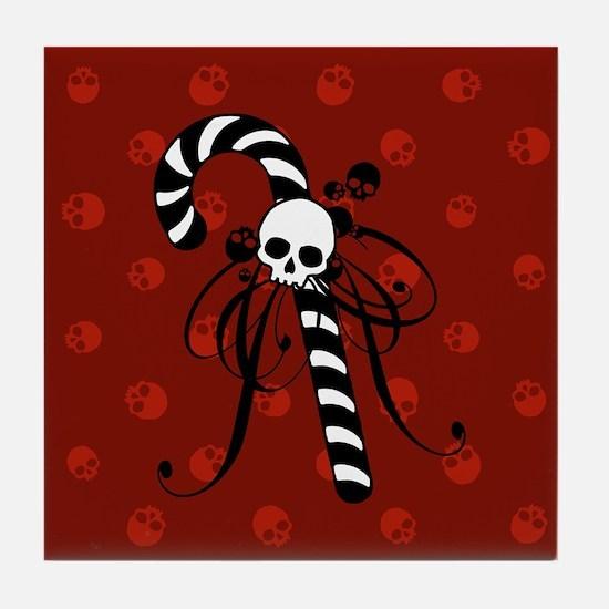 Skull Candy Cane Tile Coaster