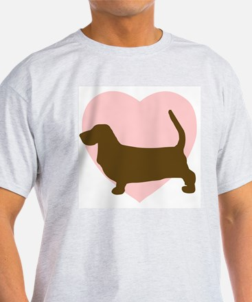 Basset Hound Heart Ash Grey T-Shirt
