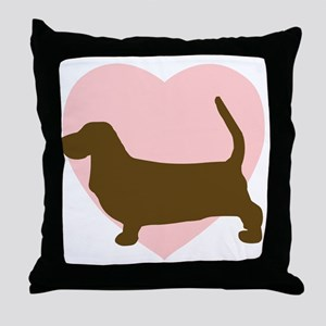 Basset Hound Heart Throw Pillow