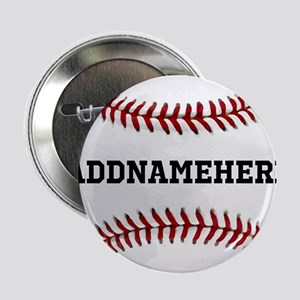 """Personalized Baseball Red/White 2.25"""" Button"""