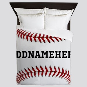 Personalized Baseball Red/White Queen Duvet
