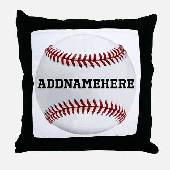 Personalized Baseball Red/White Throw Pillow