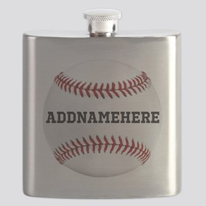 Personalized Baseball Red/White Flask