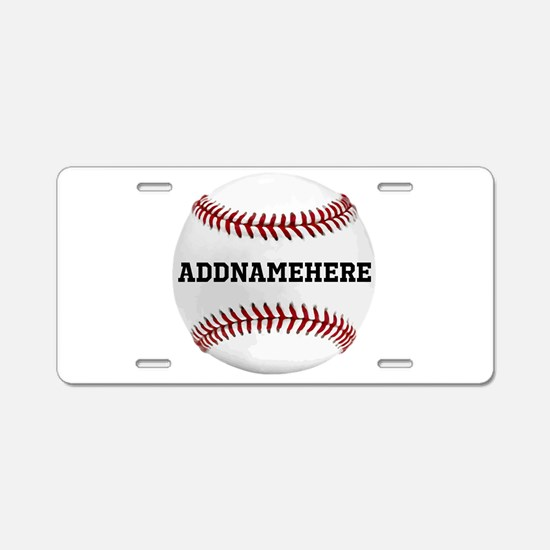 Personalized Baseball Red/White Aluminum License P