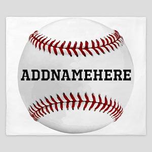 Personalized Baseball Red/White King Duvet