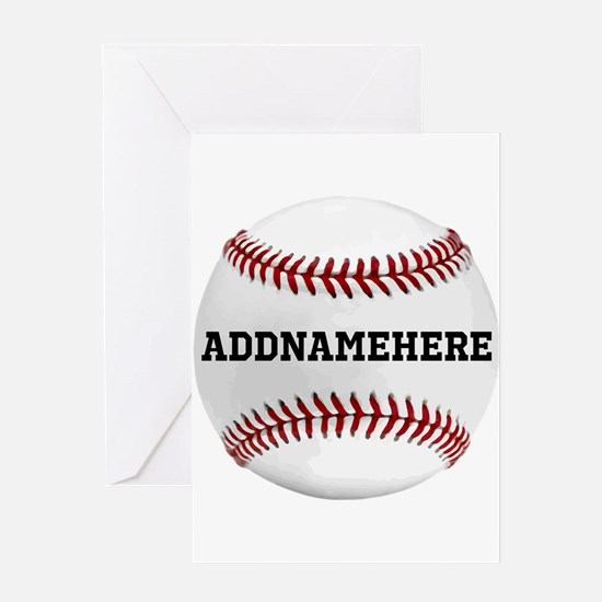 Personalized Baseball Red/White Greeting Card