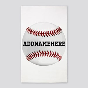 Personalized Baseball Red/White 3'x5' Area Rug
