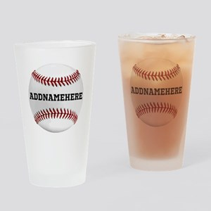 Personalized Baseball Red/White Drinking Glass
