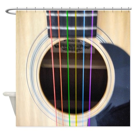Neon String Acoustic Guitar Shower Curtain by suit_yourself