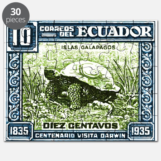 1936 Ecuador Galapagos Tortoise Postage Stamp Puzz