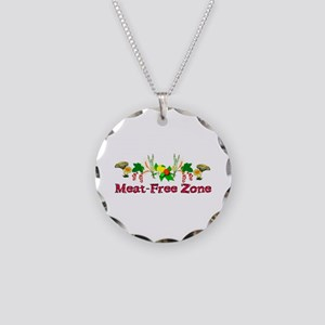 Meat-Free Zone Necklace Circle Charm