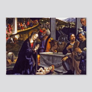 Adoration of the Shepherds 5'x7'Area Rug