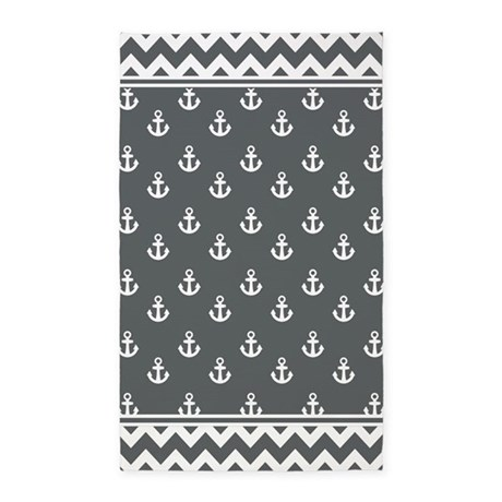Gray Anchors and Chevrons Pattern 3'x5' Area Rug