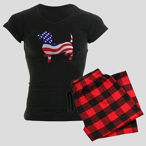 Patriotic Dachshund Women's Dark Pajamas