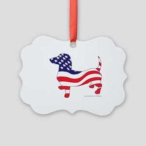 Patriotic Dachshund Picture Ornament