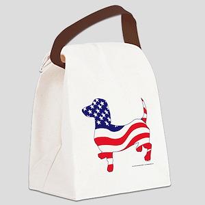 Patriotic Dachshund Canvas Lunch Bag