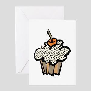 Leopard Print Cupcake Greeting Card