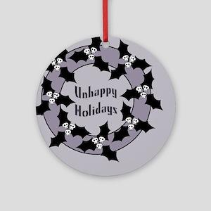 Unhappy Holidays Gothic Holly Wreath Ornament (Rou
