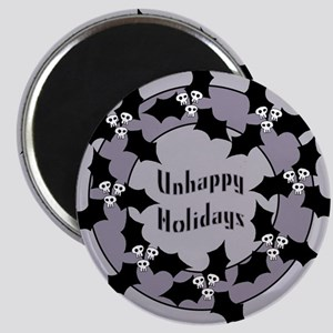 Unhappy Holidays Gothic Holly Wreath Magnet