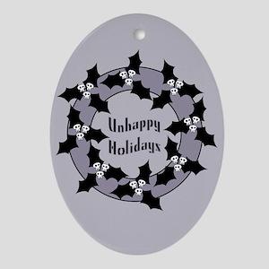 Unhappy Holidays Gothic Holly Wreath Ornament (Ova