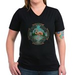 Celtic Flamingo Art Women's V-Neck Dark T-Shirt