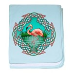 Celtic Flamingo Art baby blanket