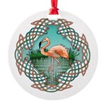 Celtic Flamingo Art Round Ornament