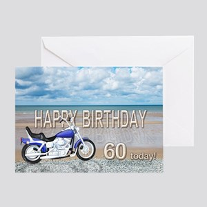 60th birthday beach bike Greeting Card