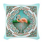 Celtic Flamingo Art Woven Throw Pillow