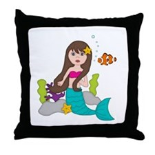Beach Mermaids Throw Pillow