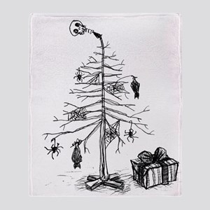 Gothic Christmas Tree Throw Blanket